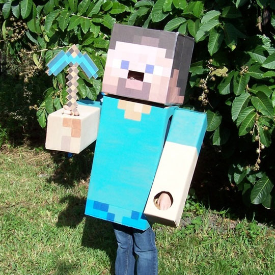 DIY Cardboard Costumes: Steve from Minecraft