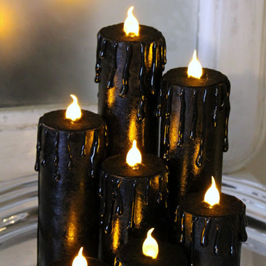 Decorating With Corrugate: Black Magic Candles