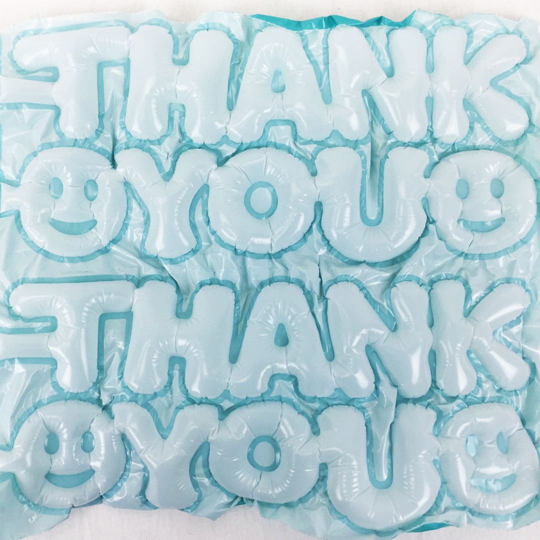 Expressions Bubble: White & Teal Thank You