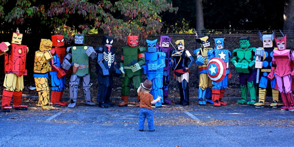 Halloween Corrugated Costumes: Boxed Avengers