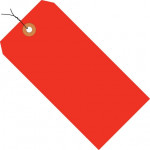 Fluorescent Red Pre-wired Shipping Tags #1 - 2 3/4 x 1 3/8