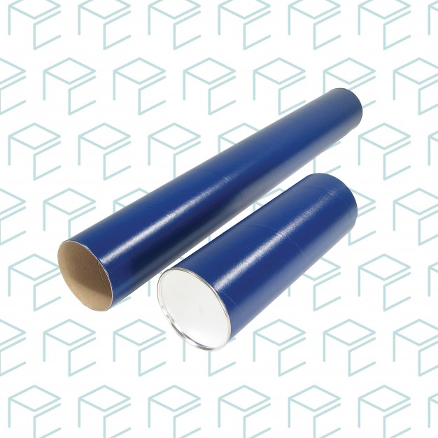 "Blue Round Mailing Tubes W/ Metal Caps 2.5"" X 37"""