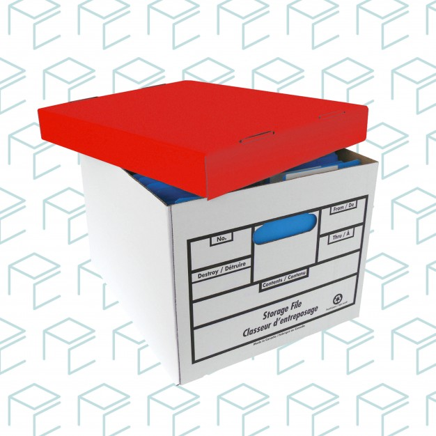 Quick Setup Storage File Box Red Lid - 12 Pack