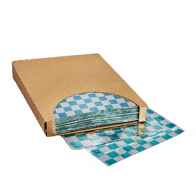 """Foil Sheets, Printed - Teal Checkered, 10 1/2 x 13"""""""