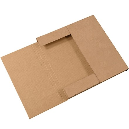"Easy-Fold Mailers, Kraft, 12 1/2 x 12 1/2"", Multi-Depth Heights of 1/2, 1"""