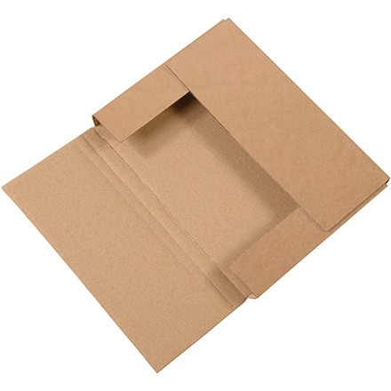 "Easy-Fold Mailers, Kraft, 11 1/8 x 8 5/8"", Multi-Depth Heights of 1/2, 1"""