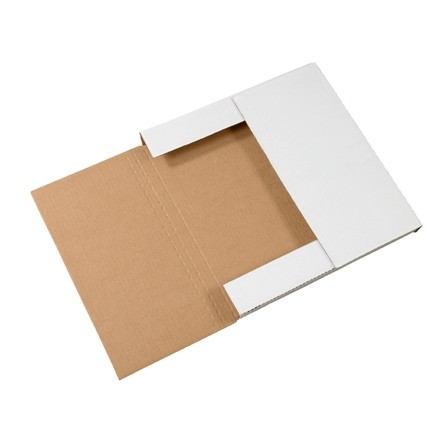 """Easy-Fold Mailers, 12 1/2 x 12 1/2"""", Multi-Depth Heights of 1/2, 1"""", White"""