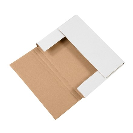 "Easy-Fold Mailers, White, 11 1/8 x 8 5/8"", Multi-Depth Heights of 1/2, 1"""