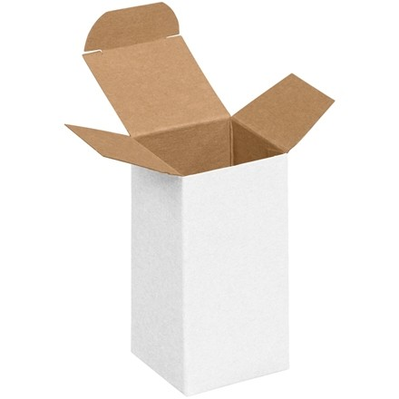 "Chipboard Boxes, Folding Cartons, Reverse Tuck, 2 x 2 x 4"", White"