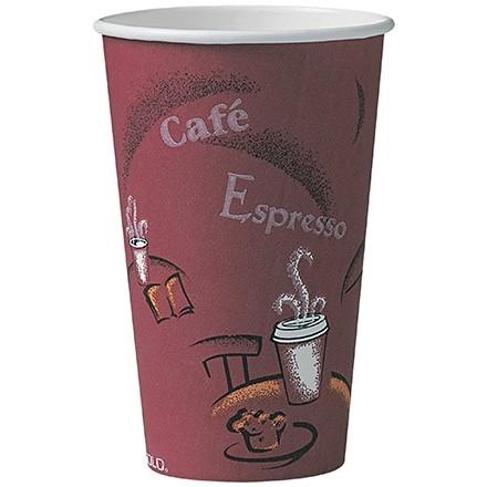 Solo® Paper Hot Cups, Bistro Design, 16 oz.