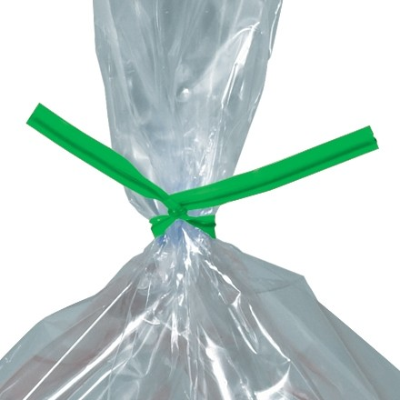 Plastic Twist Ties, Green, Pre-Cut, 5 x 5/32""