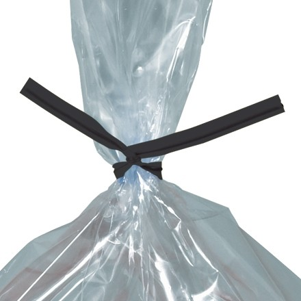 Plastic Twist Ties, Black, Pre-Cut, 5 x 5/32""