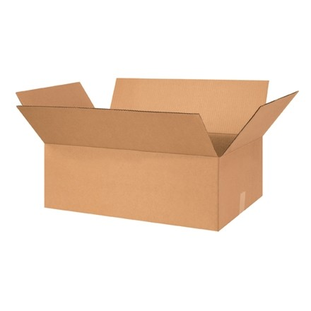 "Corrugated Boxes, 26 x 15 x 7"", Kraft, Flat"