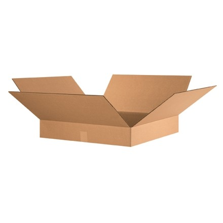 "Corrugated Boxes, 24 x 24 x 4"", Kraft, Flat"