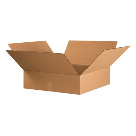"Corrugated Boxes, 22 x 22 x 6"", Kraft, Flat"