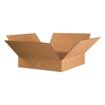 "Corrugated Boxes, 22 x 22 x 4"", Kraft, Flat"