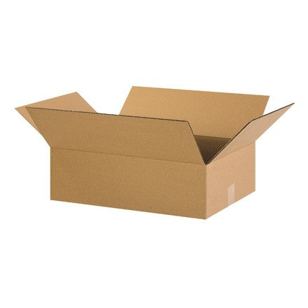 "Corrugated Boxes, 22 x 14 x 4"", Kraft, Flat"