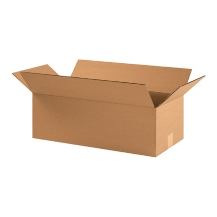 "Corrugated Boxes, 22 x 10 x 6"", Kraft, Flat"