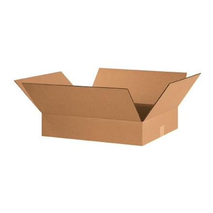 "Corrugated Boxes, 20 x 16 x 4"", Kraft, Flat"