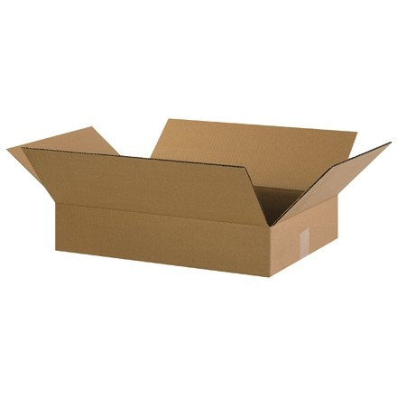 "Corrugated Boxes, 20 x 14 x 3"", Kraft, Flat"