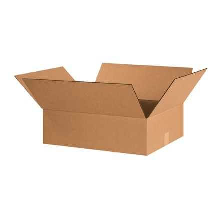 "Corrugated Boxes, 20 x 15 x 6"", Kraft, Flat"
