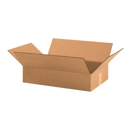 "Corrugated Boxes, 19 x 12 x 4"", Kraft, Flat"