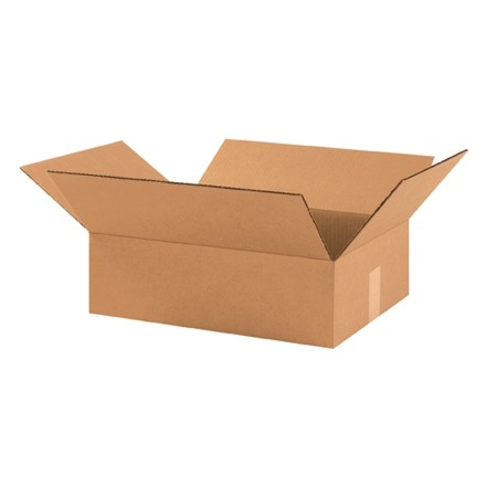 "Corrugated Boxes, 17 1/2 x 12 x 3"", Kraft, Flat"