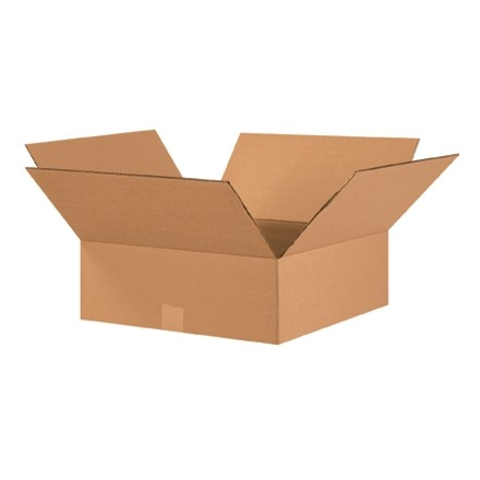 "Corrugated Boxes, 17 x 17 x 6"", Kraft, Flat"