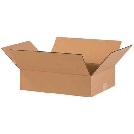 "Corrugated Boxes, 16 x 12 x 3"", Kraft, Flat"