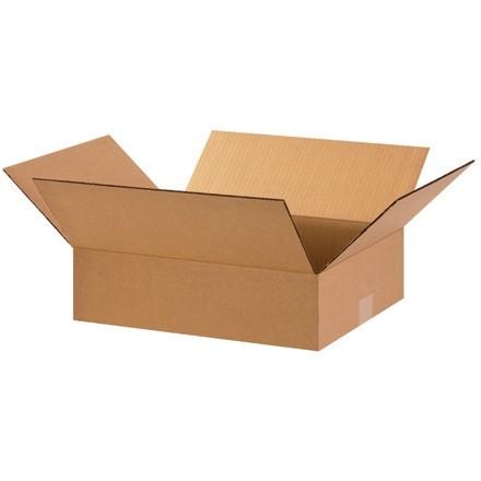 "Corrugated Boxes, 15 x 12 x 4"", Kraft, Flat"