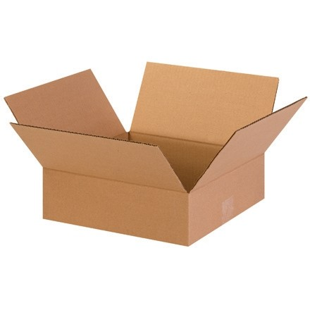 "Corrugated Boxes, 13 x 13 x 4"", Kraft, Flat"