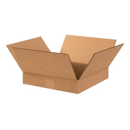 "Corrugated Boxes, 13 x 13 x 2"", Kraft, Flat"