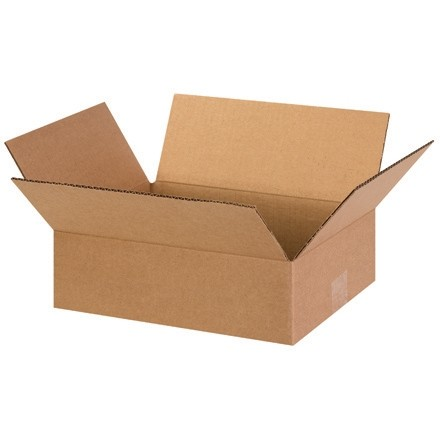 "Corrugated Boxes, 13 x 10 x 4"", Kraft, Flat"