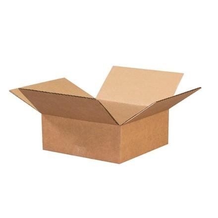 "Corrugated Boxes, 8 x 8 x 3"", Kraft, Flat"