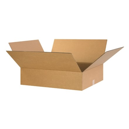 "Corrugated Boxes, 26 x 20 x 6"", Kraft, Flat"