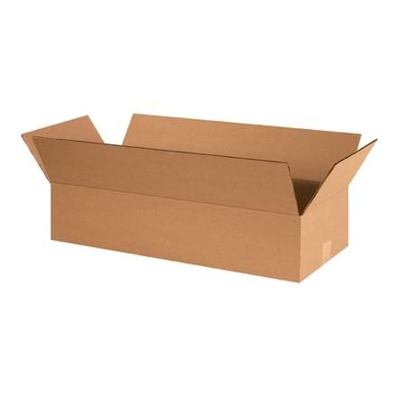"Corrugated Boxes, 24 x 10 x 4"", Kraft, Flat"