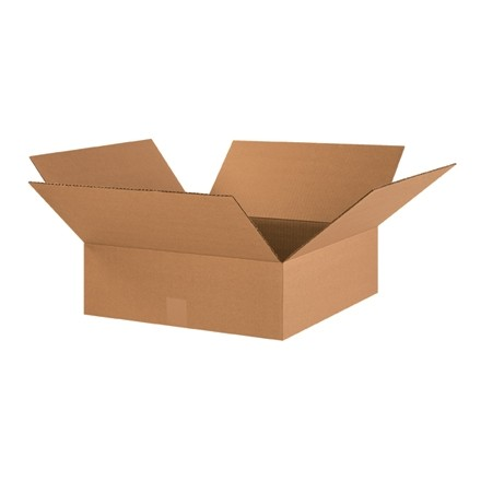 "Corrugated Boxes, 18 x 18 x 6"", Kraft, Flat"