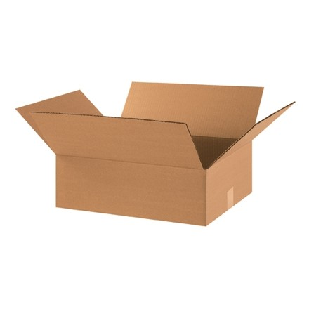 "Corrugated Boxes, 18 x 14 x 6"", Kraft, Flat"