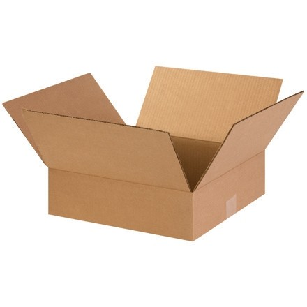 "Corrugated Boxes, 14 x 14 x 4"", Kraft, Flat"