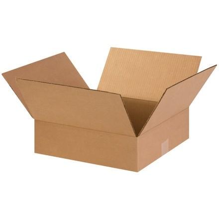 "Corrugated Boxes, 14 x 14 x 3"", Kraft, Flat"
