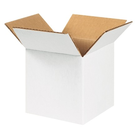 "Corrugated Boxes, 5 x 5 x 5"", White"