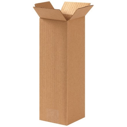 "Corrugated Boxes, 4 x 4 x 12"", Kraft"