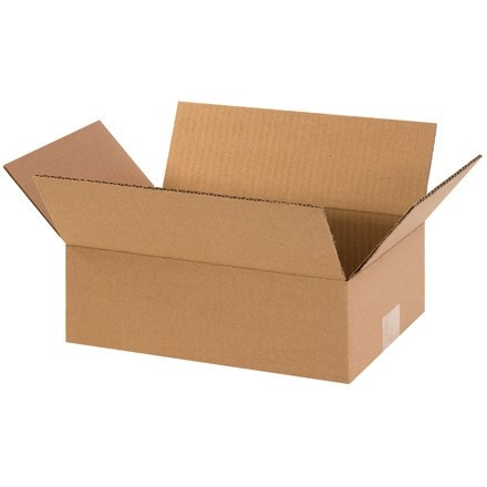 "Corrugated Boxes, 12 x 8 x 4"", Kraft, Flat"