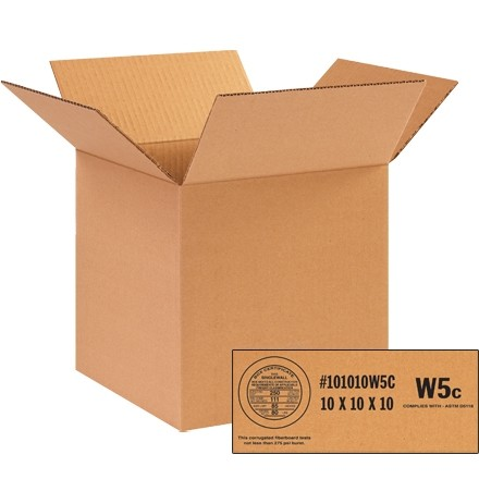 """Weather Resistant Corrugated Boxes, 10 x 10 x 10"""", W5c - 250 #"""