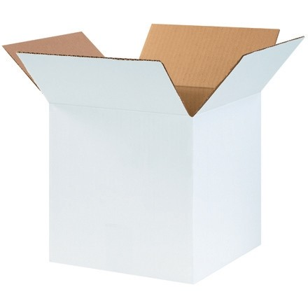 "White Corrugated Boxes, 10 x 10 x 10"", Cube"