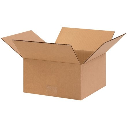 "Corrugated Boxes, 10 x 10 x 5"", Kraft, Flat"