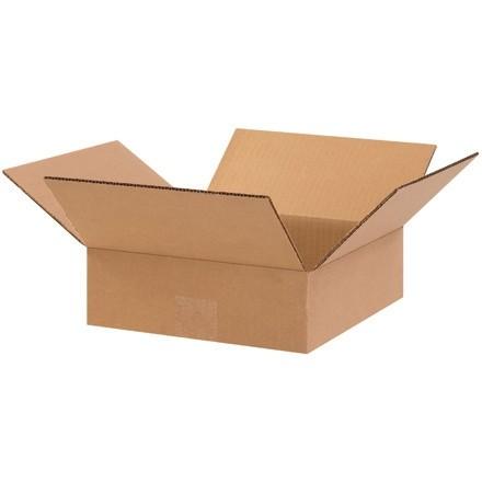 "Corrugated Boxes, 10 x 10 x 3"", Kraft, Flat"