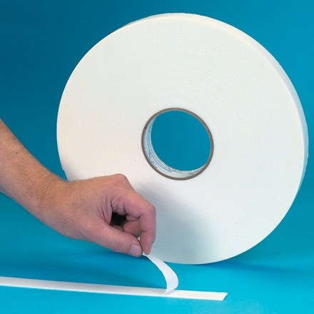 "White Heavy Duty Double Sided Foam Tape, 1/8"" Thick - 1/2"" x 36 yds."
