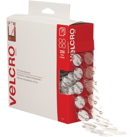 "VELCRO® Hook and Loop, Combo Pack, Dots, 3/4"", Clear"