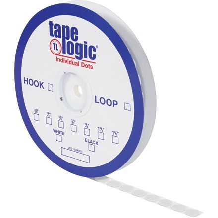 "Hook and Loop, Dots, Loop, 1 7/8"", White"